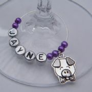 Pig Personalised Wine Glass Charm